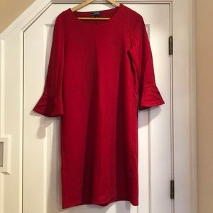 Lands End red swing dress with bell sleeves